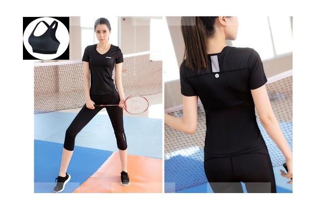 **3ชิ้น size M/L/XL  สีดำ ชุดออกกำลังกาย/โยคะ/ฟิตเนส เสื้อแขนสั้น+บรา+กางเกงขาส่วน