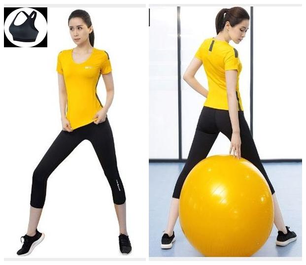**3ชิ้น size M/L/XL  สีเหลือง ชุดออกกำลังกาย/โยคะ/ฟิตเนส เสื้อแขนสั้น+บรา+กางเกงขาส่วน
