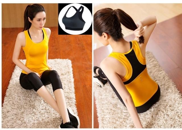 **3ชิ้น size M/L/XL สีเหลือง ชุดออกกำลังกาย/โยคะ/ฟิตเนส เสื้อแขนกุด+บรา+กางเกงขา5 ส่วน