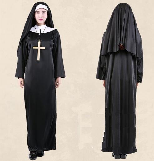 ++พร้อมส่ง+ชุดแฟนซีแม่ชีสีดำ พร้อมผ้าคลุมศีรษะเข้าชุด The Nun