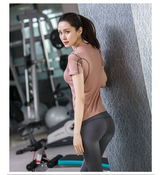 **พร้อมส่ง size M/L/XL  สีเบจ ชุดออกกำลังกาย/โยคะ/ฟิตเนส เสื้อแขนสั้น+กางเกงขายาว