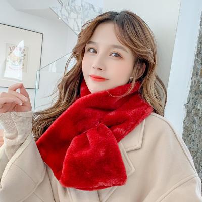 (พร้อมส่งสีแดง) ผ้าพันคอกันหนาว ผ้าพันคอขนเฟอร์ ผ้าพันคอผู้หญิง