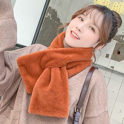 (พร้อมส่งสีส้มอิฐ) ผ้าพันคอกันหนาว ผ้าพันคอขนเฟอร์ ผ้าพันคอผู้หญิง