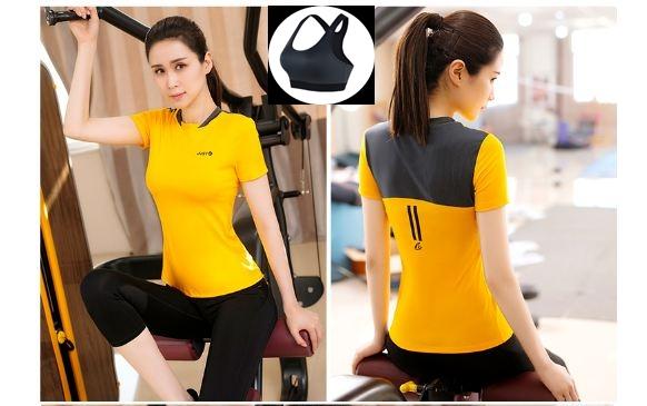 **3 ชิ้นsize  L/XL  สีเหลือง ชุดออกกำลังกาย/โยคะ/ฟิตเนส เสื้อแขนสั้น+บรา+กางเกงขาส่วน