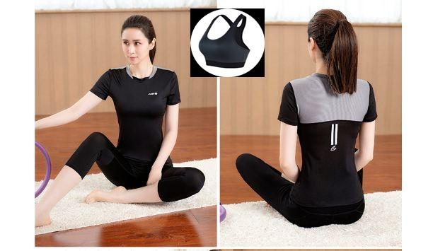 **3 ชิ้น size M/L/XL  สีดำ ชุดออกกำลังกาย/โยคะ/ฟิตเนส เสื้อแขนสั้น+บรา+กางเกงขาส่วน