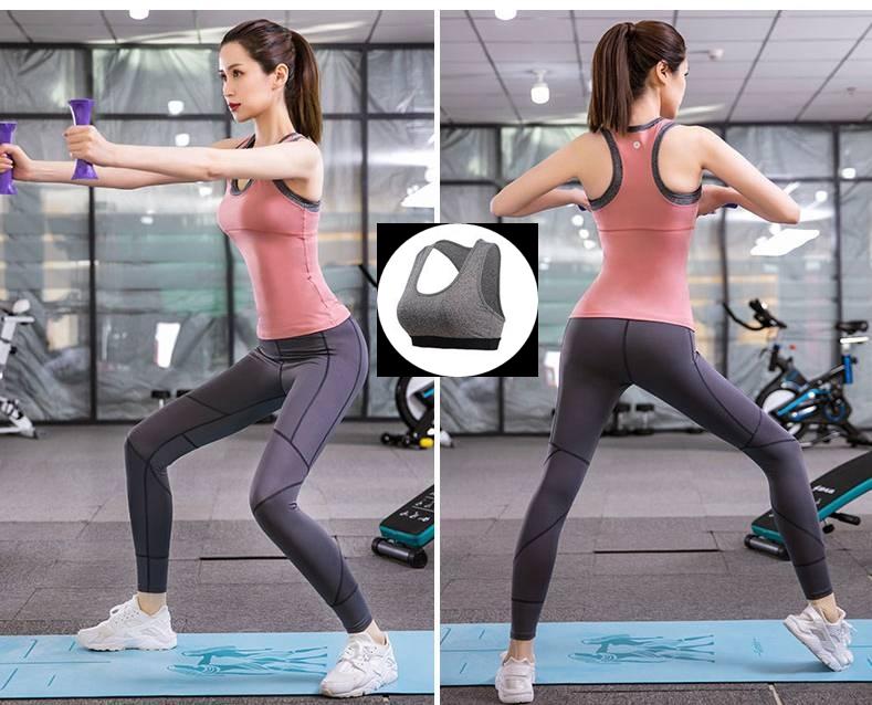 **3 ชิ้น  size M/L/XL สีชมพู ชุดออกกำลังกาย/โยคะ/ฟิตเนส เสื้อแขนกุด+บรา+กางเกงขายาว