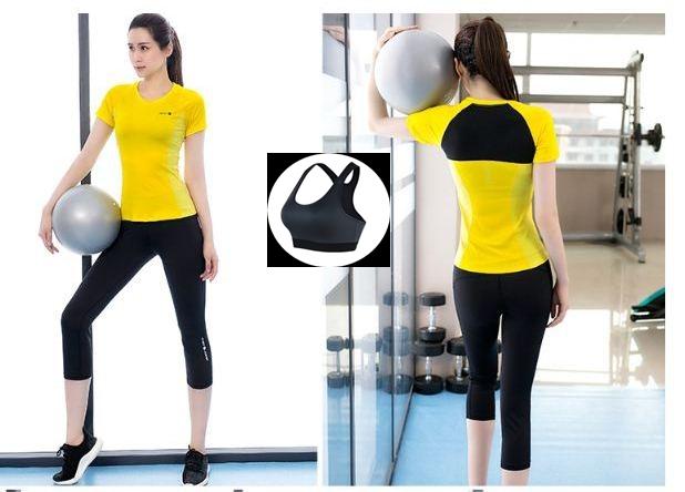 **พร้อมส่ง size M/L/XL  สีเหลือง ชุดออกกำลังกาย/โยคะ/ฟิตเนส เสื้อแขนสั้น+บรา+กางเกงขาส่วน