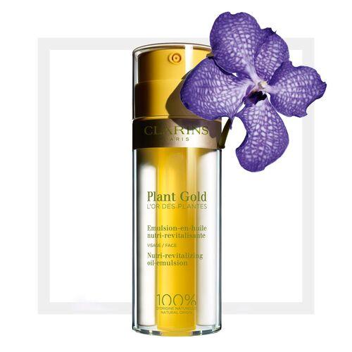*พร้อมส่ง*CLARINS Plant Gold Nutri-Revitalizing Oil Emulsion 35 ml. ออยล์อิมัลชั่น ครีมบำรุงผิว ให้ความชุ่มชื้นและกระจ่างใส ผิวดูโกลด์กระจ่างใส สวยเปล่งปลั่ง ผิวดูฉ่ำเปล่งประกายสุขภาพดี มอบการบำรุงให้ผิวขาดน้ำ กลิ่นหอมอโรมาอันเป็นเอกลักษณ์ ปราศจากน้ำหอมสั