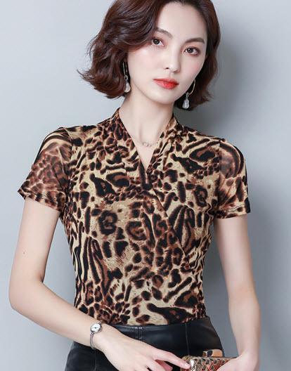 พรีออเดอร์ เสื้อแฟชั่น แขนสั้น เสื้อลายเสือ เสื้อผ้าเกาหลี ใส่เที่ยวหรือใส่ออกงานได้ สีน้ำตาลลายเสือ