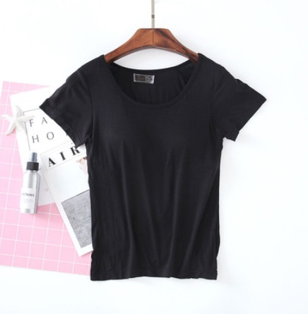 (พร้อมส่ง) เสื้อยืด เสริมบรา XL สีดำ