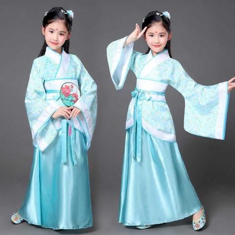 7KD022 ชุดเด็กหญิง จีนโบราณ ชุดจอมยุทธ ฟ้าคาดขาว