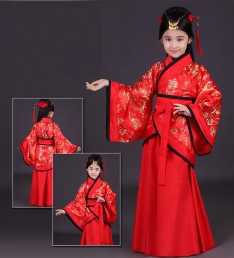 7KD023 ชุดเด็กหญิง จีนโบราณ ชุดจอมยุทธ แดงคาดดำ