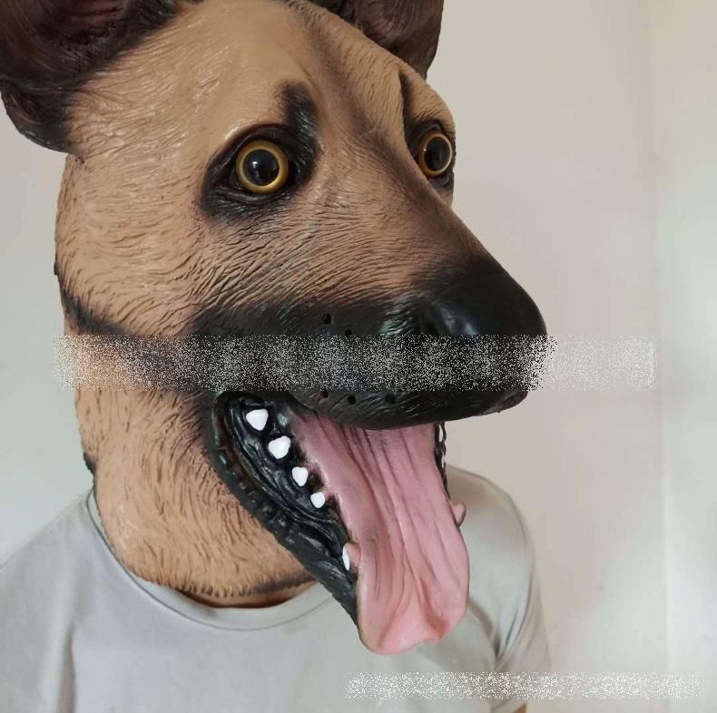 7MF013 หน้ากากเต็มศีรษะ หัวสุนัขแลบลิ้น
