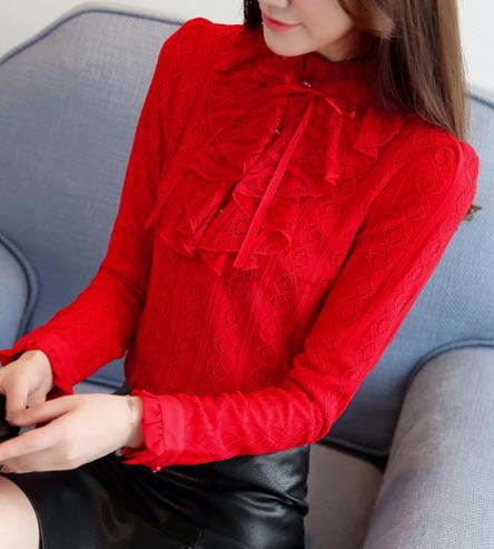 พรีออเดอร์ เสื้อแฟชั่น เสื้อลูกไม้ แขนยาว คอสูง แต่งซับใน ใส่ออกงานหรือใส่ทำงานได้ สี แดง ขาว ดำ