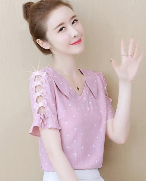พรีออเดอร์ เสื้อแฟชั่น แขนสั้น ลายจุด คอตตอนผสม เสื้อผ้าเกาหลี สวย ๆ ใส่ทำงานได้ สี ขาว ฟ้า โอรส ชมพุ