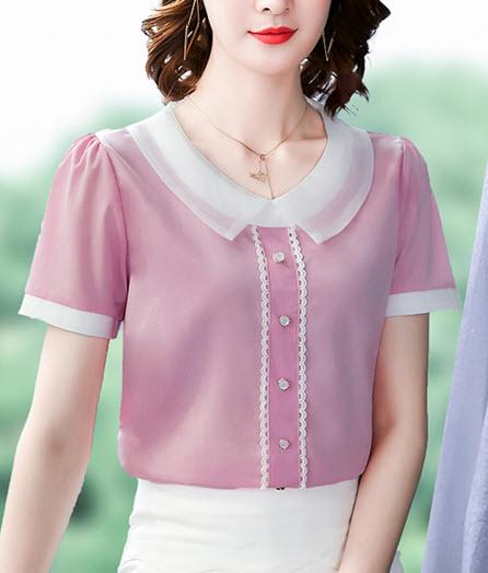 พรีออเดอร์ เสื้อแฟชั่น แขนสั้น ชุดทำงาน ผู้หญิง เสื้อผ้าเกาหลี ชีฟอง แต่งกระดุมหน้า สี ฟ้า ชมพู