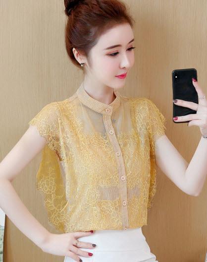 พรีออเดอร์ เสื้อแฟชั่น แขนกุด คอจีน เสื้อเชิ้ต สไตลเกาหลี ใส่ทำงานได้ สี กรม โอรสส เหลือง