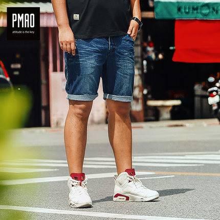 ขนาด:2XL 3XL 4XL 5XL 6XL สี:น้ำเงิน กางเกงคนอ้วน กางเกงผู้ชาย ขนาดใหญ่ กางเกงยีนส์ ขาสั้น