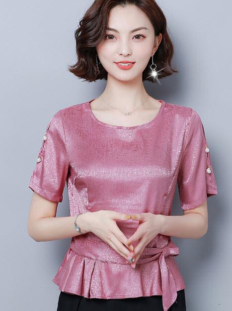 พรีออเดอร์ เสื้อแฟชั่น แขนสั้น ชุดทำงานผู้หญิง สไตลเกาหลี เรียบหรูดูดี สี เขียว  ครีม ชมพูกะปิ