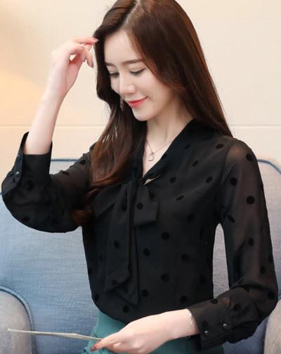 พรีออเดอร์ เสื้อแฟชั่น แขนยาว แต่งโบว์หน้า เสื้อผ้าทำงาน ชุดทำงานผู้หญิง สไตลเกาหลี สี ดำ จั๊มแขน