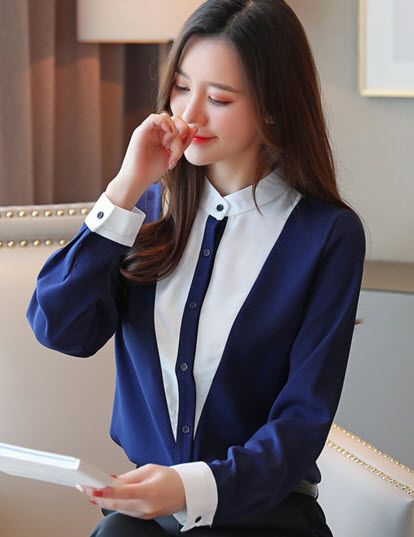 พรีออเดอร์ เสื้อแฟชั่น แขนยาว เสื้อเชิ้ต คอสูง แต่งสีพื้น ชุดทำงานผู้หญิง สไตลเกาหลี สี กรม