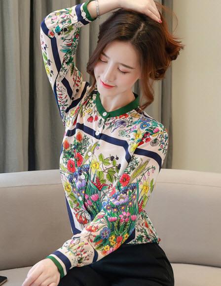 พรีออเดอร์ เสื้อแฟชั่น เสื้อเชิ้ต ลายกราฟฟิก วินเทจ คอจีน จั๊มแขน แขนยาว เสื้อผ้าเกาหลี สี เขียว