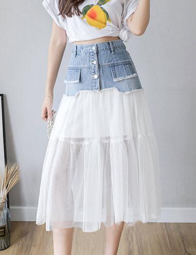 พรีออเดอร์ กระโปรงยีนส์ กระโปรง สวย ๆ แต่งระบายด้วยชีฟอง สไตลเกาหลี เสื้่อผ้าแฟชั่นผู้หญิง สียีนส์อ่อน