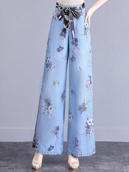 พรีออเดอร์ กางเกงขายาว ขาบาน กางเกง ยีนส์เกาหลี ลายดอกไม้ มีสายผูกเอว สุดหรู ผ้าบางเบา ใส่สบาย สี ยีนส์อ่อน