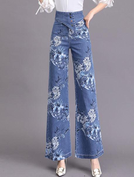 พรีออเดอร์ กางเกงขายาว กางเกงขาบาน ลายดอกไม้ ผ้าเนื้อดี เสื้อผ้าแฟชั่นเกาหลี สี ยีนส์ซีด สีพื้นและลายดอกไม้