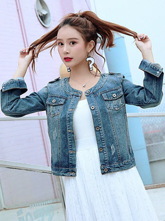 พรีออเดอร์ เสื้อคลุมยีนส์ แขนยาว คอกลม คอปาด คอจีน เสื้อยีนส์แฟชั่น สวย ๆ เสื้อผ้าเกาหลี ราคาถูก  สี ยีนส์เก่า