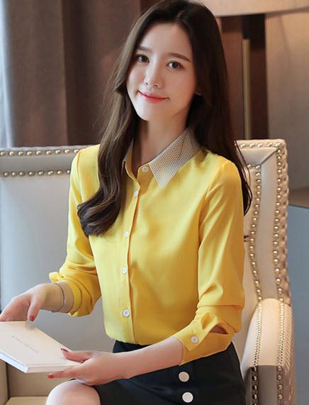 พรีออเดอร์ เสื้อเชิ้ต คอปก แขนยาว เสื้อผ้าแฟชั่น ชุดทำงาน สไตลเกาหลี สี แดง เหลืองสด กรม