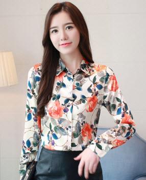 พรีออเดอร์ เสื้อเชิ้ต คอปก แขนยาว เสื้อผ้าแฟชั่นผู้หญิง สวย ๆชุดทำงาน ลายดอกไม้ สี ส้ม ตามภาพ