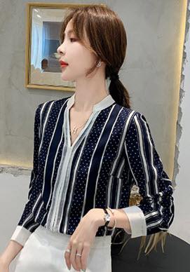พรีออเดอร์ เสื้อเชิ้ต คอปก แขนยาว คอจีน เสื้อผ้าแฟชั่นทำงานผู้หญิงสวย ๆ สไตลเกาหลี แต่งขาวสลับกรม