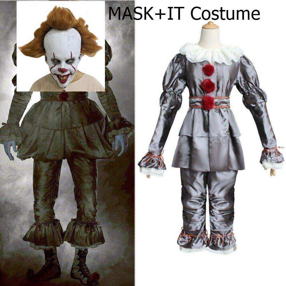 ++พร้อมส่ง++เซ็ทชุด+หน้ากาก ชุดอิทโผล่จากนรก ชุดเพนนีไวซ์ ปีศาจตัวตลก pennywise cosplay ชุดit