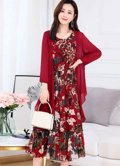 พรีออเดอร์ เดรสลายดอกแฟชั่นมาพร้อมเสื้อคลุมแยกชิ้น ชุดเซ็ท เดรสชีฟอง สี แดง  ชมพู และดำ