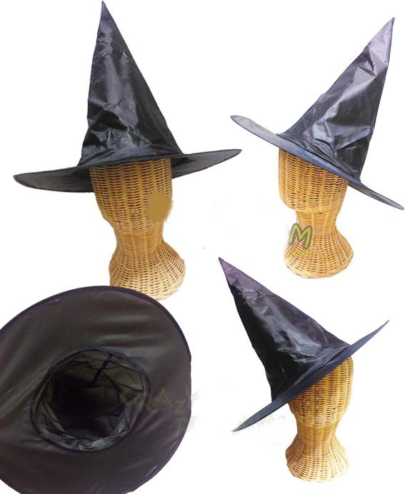 ++พร้อมส่ง++หมวกแม่มดพ่อมดสีดำ ผ้าลื่นแบบผ้าร่มสีดำ