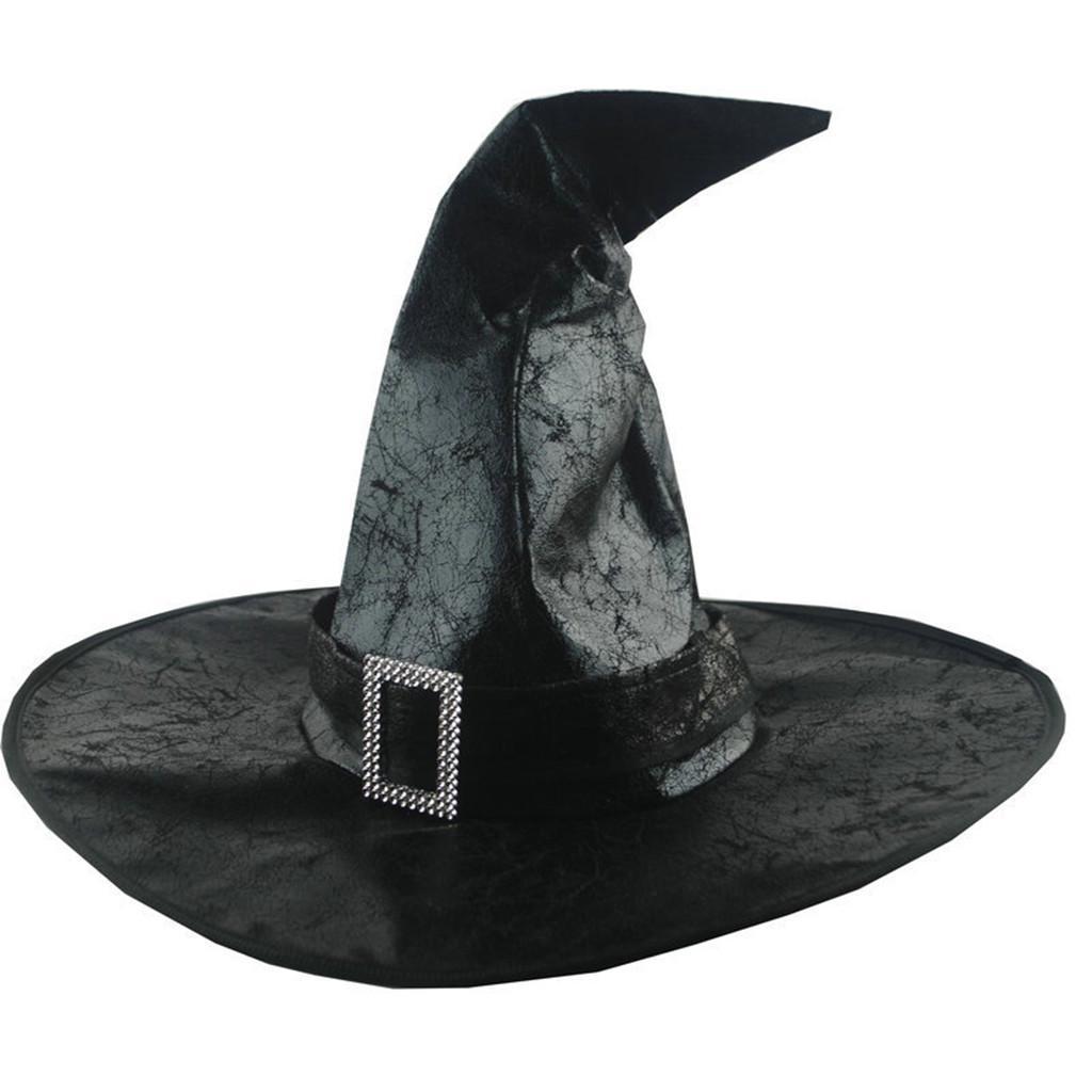++พร้อมส่ง++หมวกพ่อมดแม่มด หมวกฮาโลวีนสีดำ