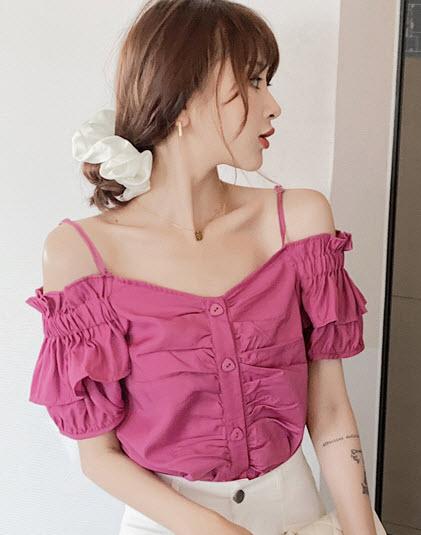 พรีออเดอร์ เสื้อสายเดี่ยว ปาดไหล่ เปิดไหล่ แฟชั่นเกาหลี สวย ๆ เสื้อผ้าแฟชั่นผู้หญิง ราคาถูก สี ชมพูอมม่วง