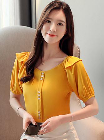 พรีออเดอร์ เสื้อแฟชั่น แขนตุ๊กตา คอกว้าง แต่งกระดุมหน้าสุดเก๋ เสื้อผ้าผู้หญิง ชุดทำงาน สไตลเกาหลี สี เหลืองสด แดง ขาว