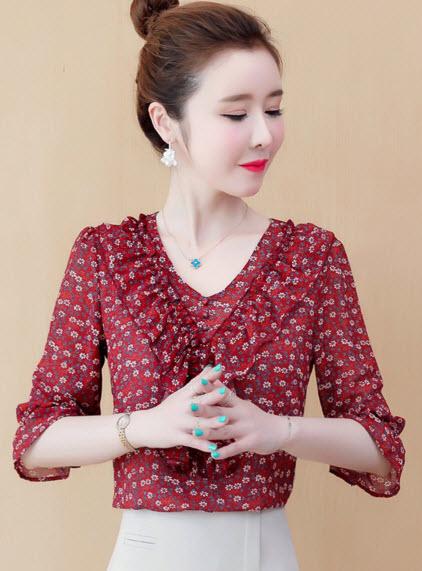 พรีออเดอร์ เสื้อแฟชั่น แขนสี่ส่วน เสื้อลายดอก เสื้อทำงานผู้หญิง สวย ๆ สไตลเกาหลี สี ชมพู แดงลายดอก และดำลายดอก