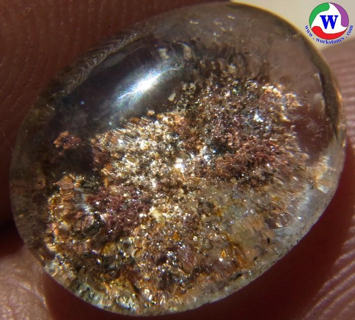 แก้วโป่งข่ามนำโชค 7.20 กะรัต แก้วปวกสตาร์ประกายเพชร ระยับตา 4 สี ทองแดงน้ำตาล