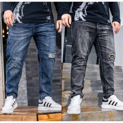 ขนาด:XL 2XL 3XL 4XL 5XL 6XL สี:ดำ/น้ำเงินกางเกงคนอ้วน กางเกงผู้ชาย ขนาดใหญ่ กางเกงยีนส์ ขายาว