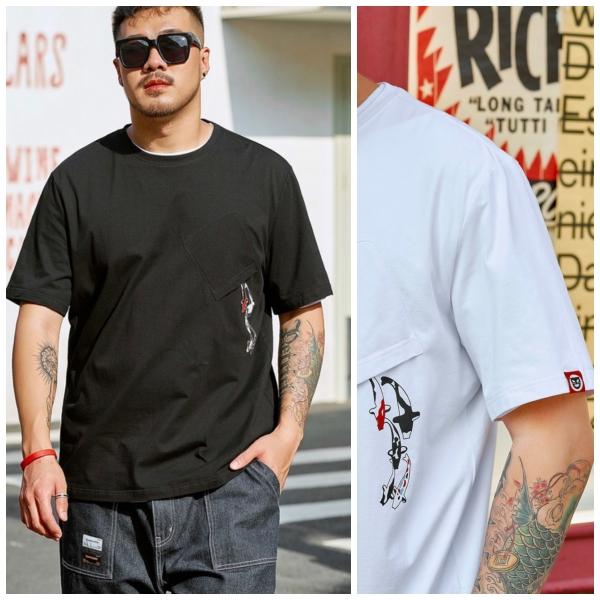 ขนาด: XL 3XL 4XL 5XL 6XL สี:ดำ/ขาว เสื้อคนอ้วน เสื้อผ้าผู้ชาย ขนาดใหญ่ เสื้อยืด แขนสั้น