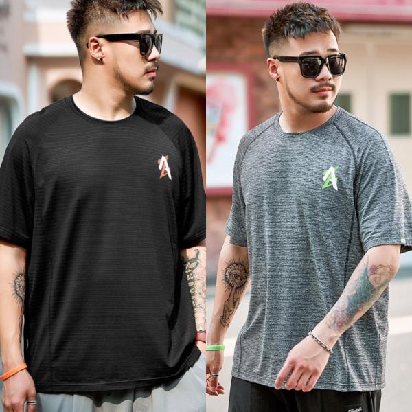 ขนาด: 2XL 3XL 4XL 5XL 6XL สี:ดำ/เทา เสื้อคนอ้วน เสื้อผ้าผู้ชาย ขนาดใหญ่ เสื้อยืด แขนสั้น