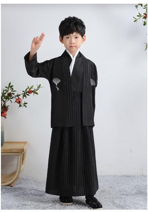 7C122 ชุดเด็ก ชุดกิโมโน ชุดยูกาตะ ชุดซามูไร สีดำลายใบพัด Kimono Yukata Black and Fan Pattern Costumes