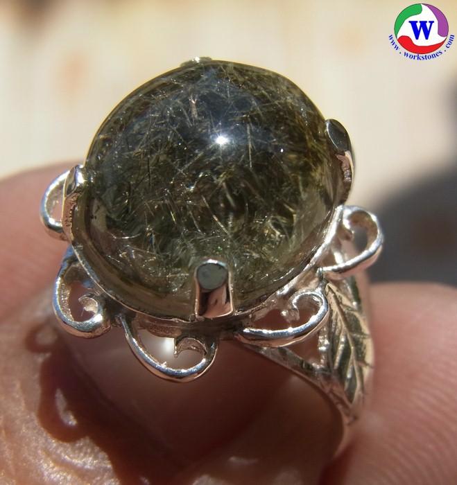 แหวนเงินหญิง 4.67 กรัม เบอร์ 59 แก้วโป่งข่ามนำโชค ชนิดไหมเงินและขนเหล็กกอ เมืองเถิน ลำปาง