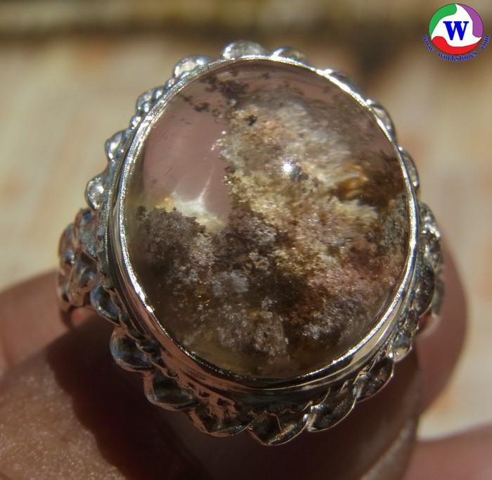 แหวนเงินหญิง 6.03 กรัม เบอร์ 58 แก้วโป่งข่ามนำโชค ชนิดแก้วปวก 6 สี แววสตาร์ เมืองเถิน ลำปาง