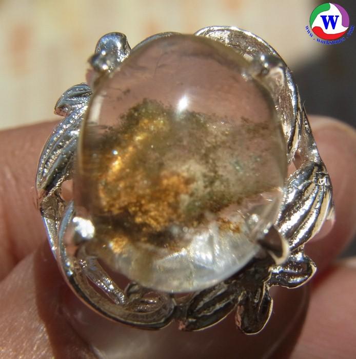 แหวนเงินหญิง 5.74 กรัม เบอร์ 55 แก้วโป่งข่ามนำโชค ชนิดแก้วเข้าแก้วมีปวกคลุม 3 สี เมืองเถิน ลำปาง
