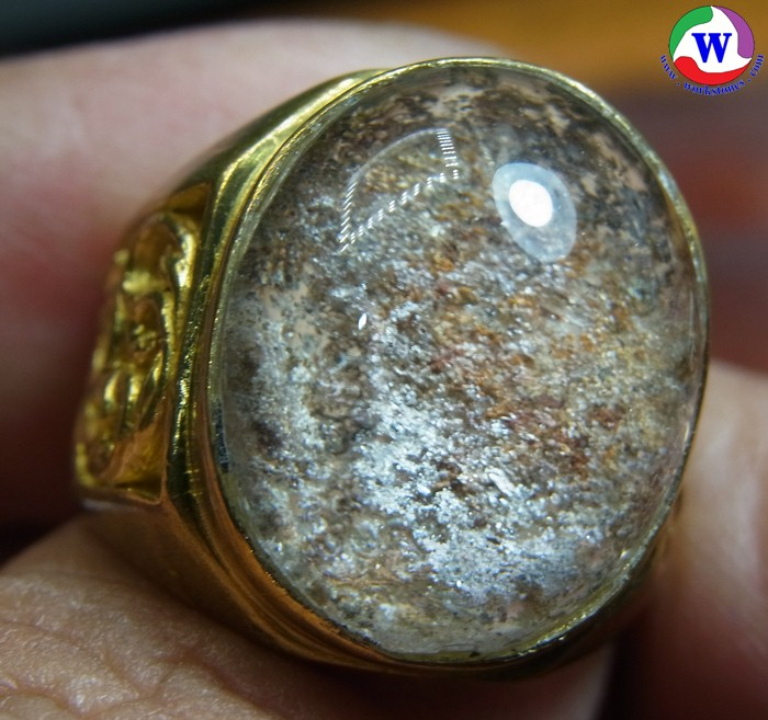 แหวนทองเหลืองชาย 9.95 กรัม เบอร์ 60 แก้วโป่งข่ามนำโชคชนิดแก้วปวก 4 สี มีแววสตาร์สวย