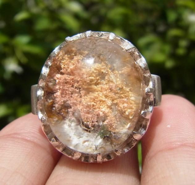 แหวนแก้วปวกสีทอง ชมพูโอรส เงิน เขียว เบอร์ 58 ตัวเรือนเงินแท้